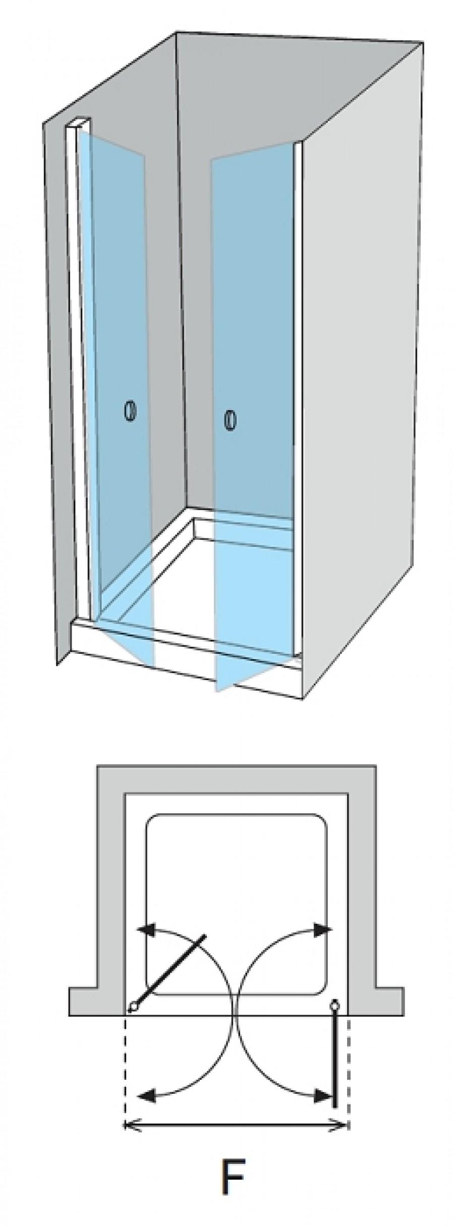 Porte de douche 2 panneaux battants verre fum for Porte 2 battants