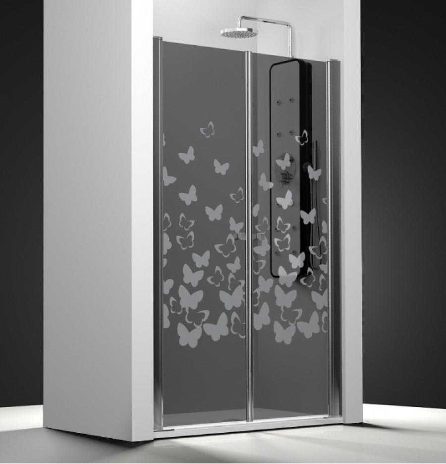 porte de douche 2 panneaux battants verre fum sabl papillon meuble de salle. Black Bedroom Furniture Sets. Home Design Ideas