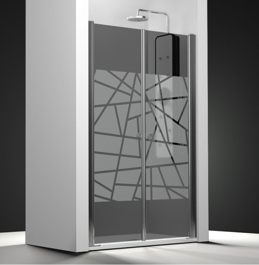 porte de douche 2 panneaux battants verre fum sabl rayas meuble de salle de. Black Bedroom Furniture Sets. Home Design Ideas