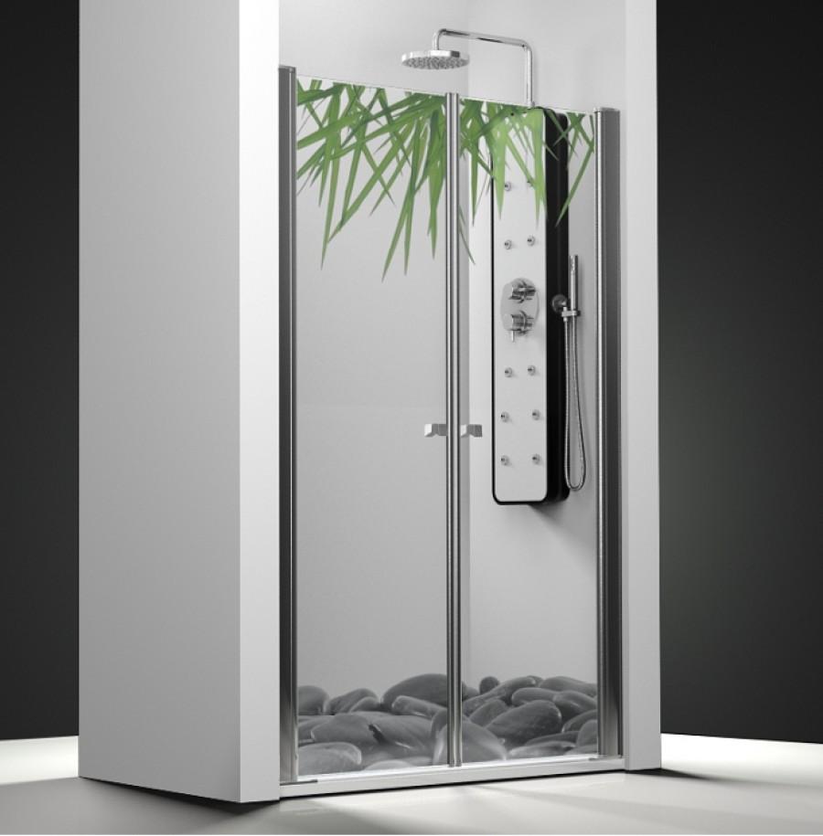 porte de douche 2 panneaux battants impression relax meuble de salle de bain. Black Bedroom Furniture Sets. Home Design Ideas