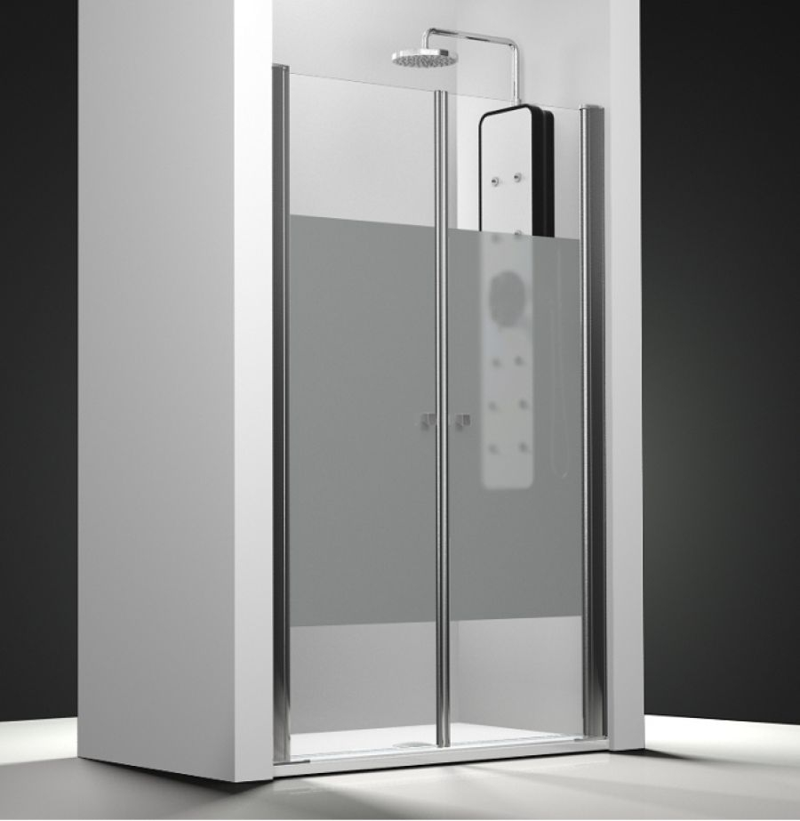 Porte de douche 2 panneaux battants verre transparent bande sabl e 60cmsanita - Porte douche battant verre ...