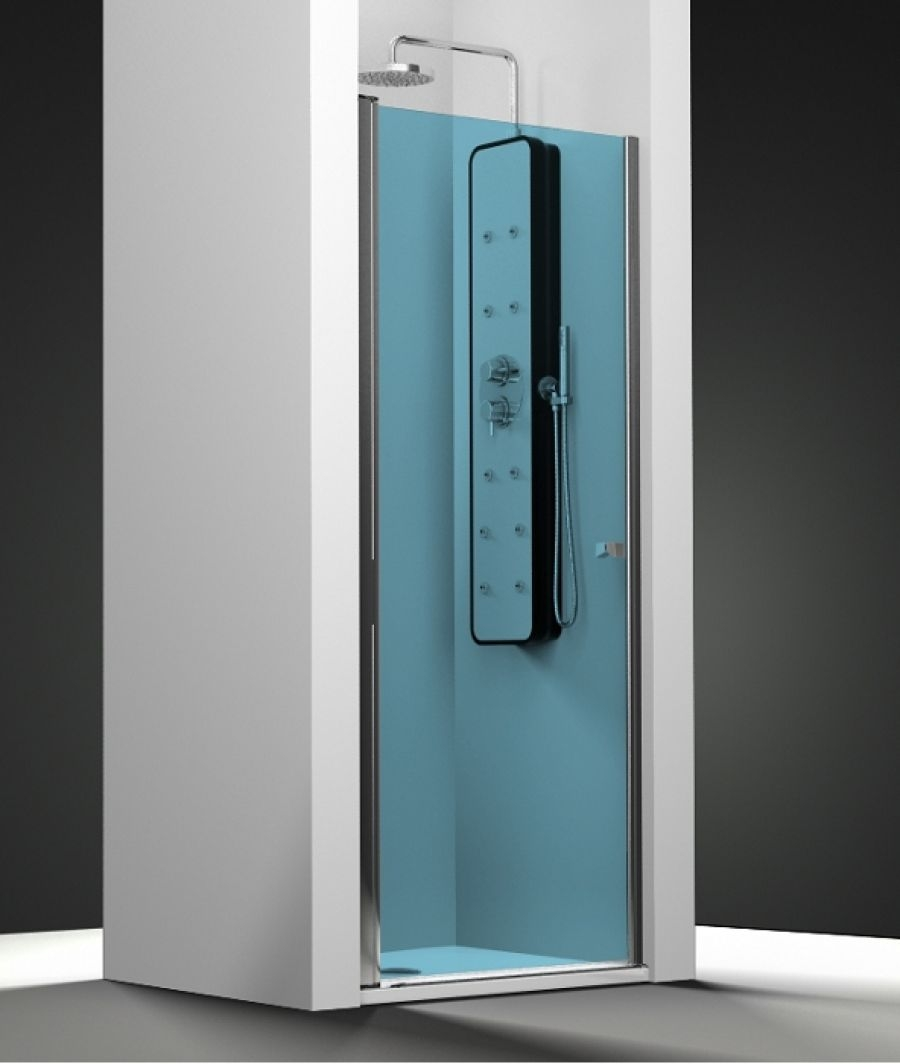 porte de douche pivotante verre bleu 50cm meuble de salle de bain douche. Black Bedroom Furniture Sets. Home Design Ideas