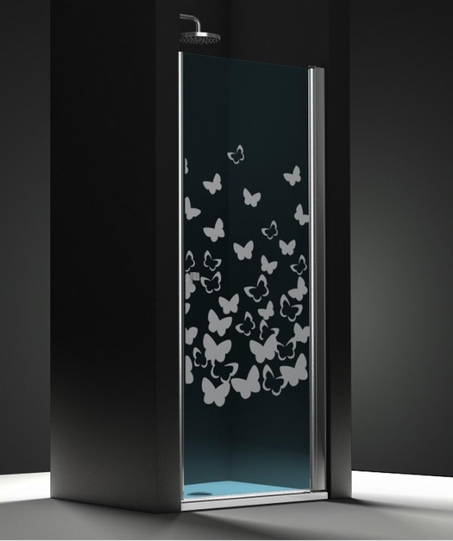 porte de douche pivotante verre bleu sabl papillon 60cm. Black Bedroom Furniture Sets. Home Design Ideas