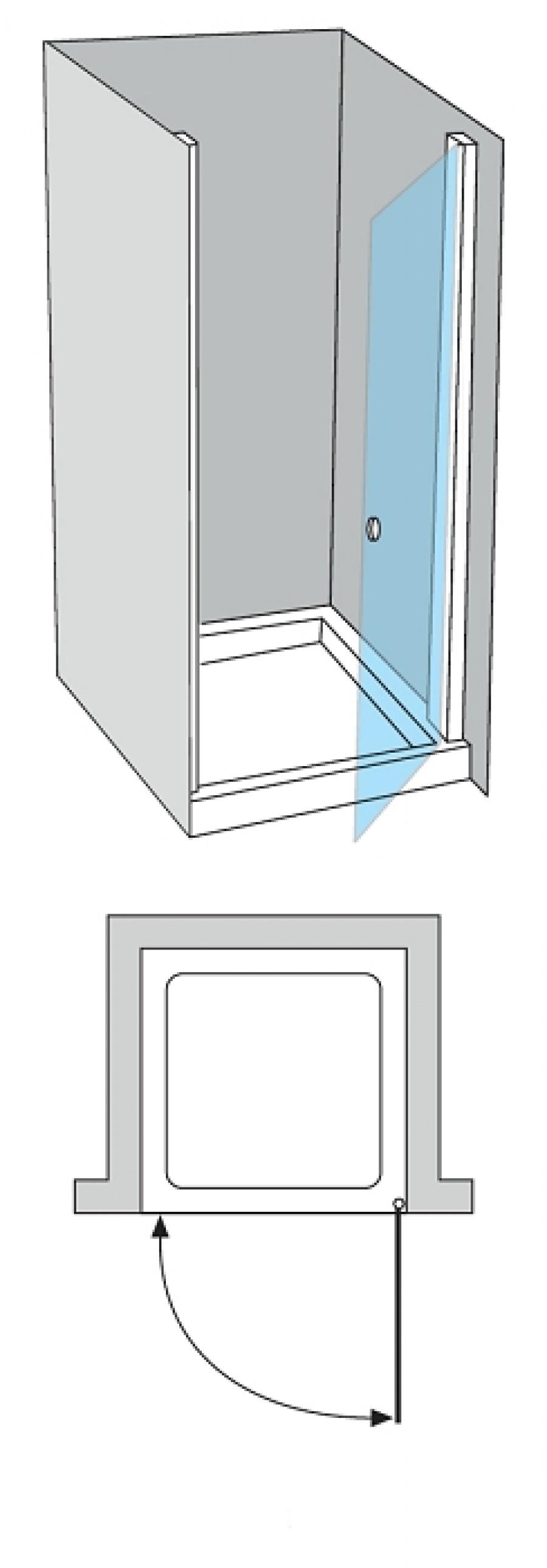porte de douche pivotante verre transparent bande sabl e. Black Bedroom Furniture Sets. Home Design Ideas