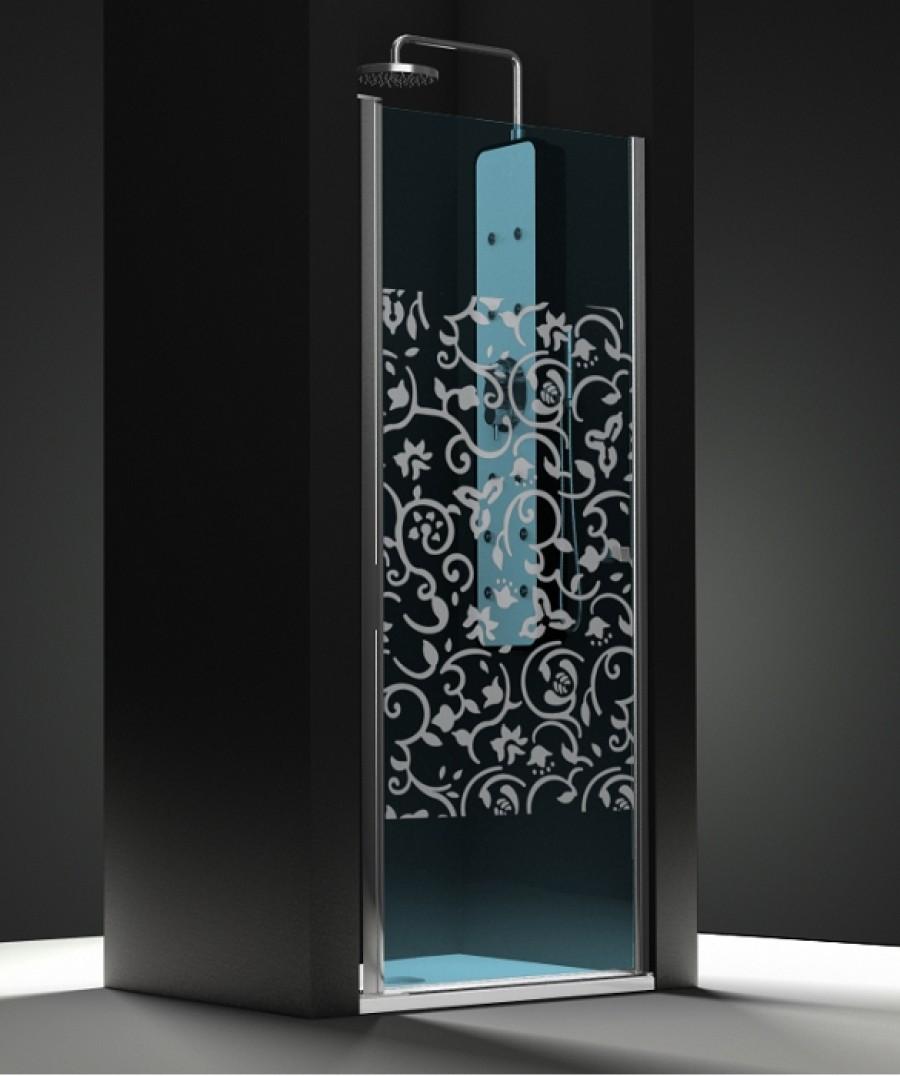 porte de douche pivotante verre bleu sabl baroque 50cm meuble de salle de. Black Bedroom Furniture Sets. Home Design Ideas