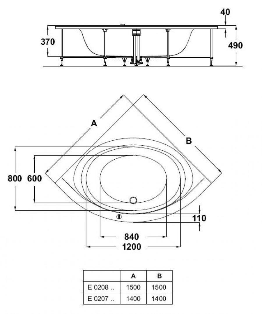 Baignoire d\'angle 150x150 Connect IDEAL STANDARD