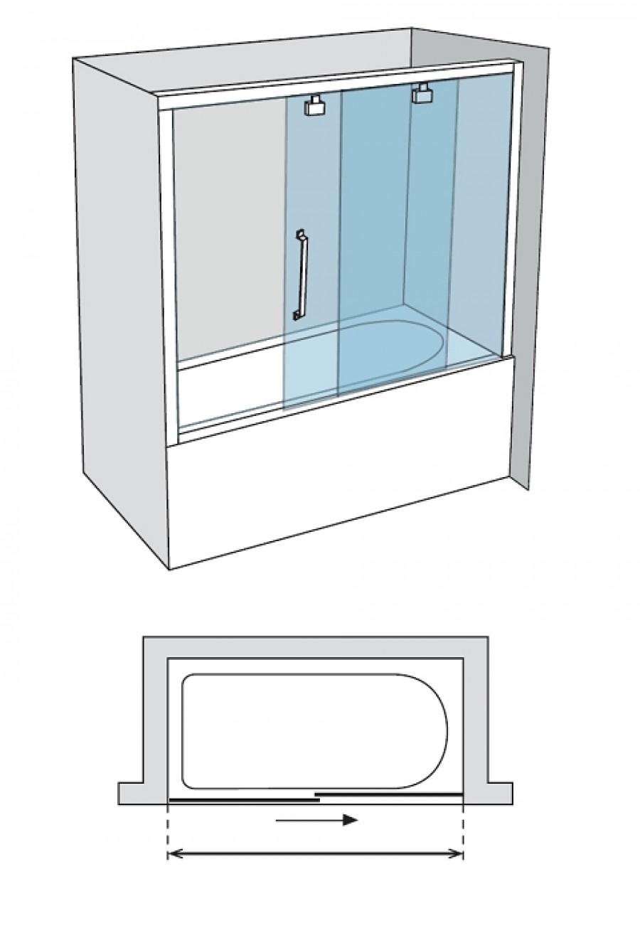 paroi de baignoire verre fum 1 panneau coulissant 170cm. Black Bedroom Furniture Sets. Home Design Ideas
