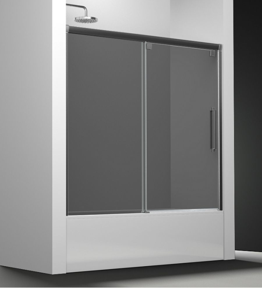Paroi de baignoire verre fum 1 panneau coulissant 160cm version droitesanita - Panneau de baignoire ...