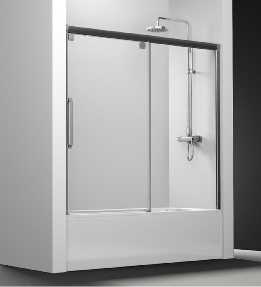 Paroi de baignoire transparent 1 panneau coulissant 150cm - Pare baignoire miroir ...