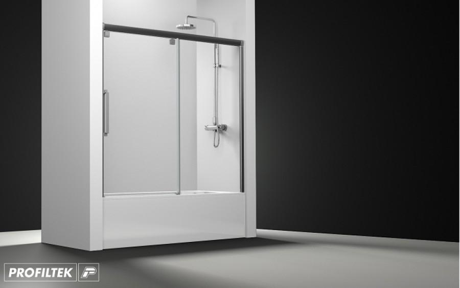 Paroi de baignoire transparent 1 panneau coulissant 170cm version meuble de Pare baignoire coulissant