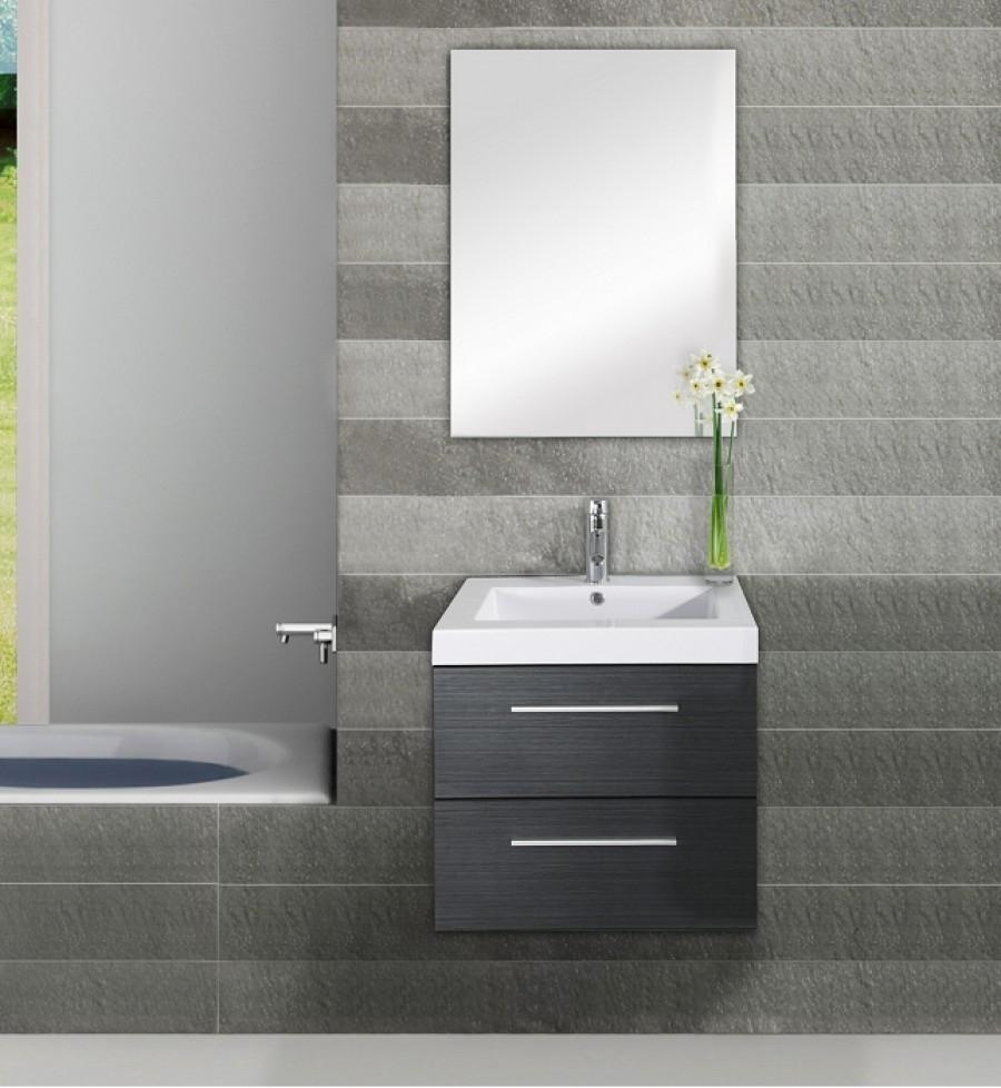 Meuble simple vasque saturn 60cm gris for Meuble sanitaire