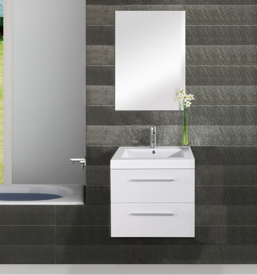 Meuble simple vasque saturn 60cm blanc for Meuble sanitaire