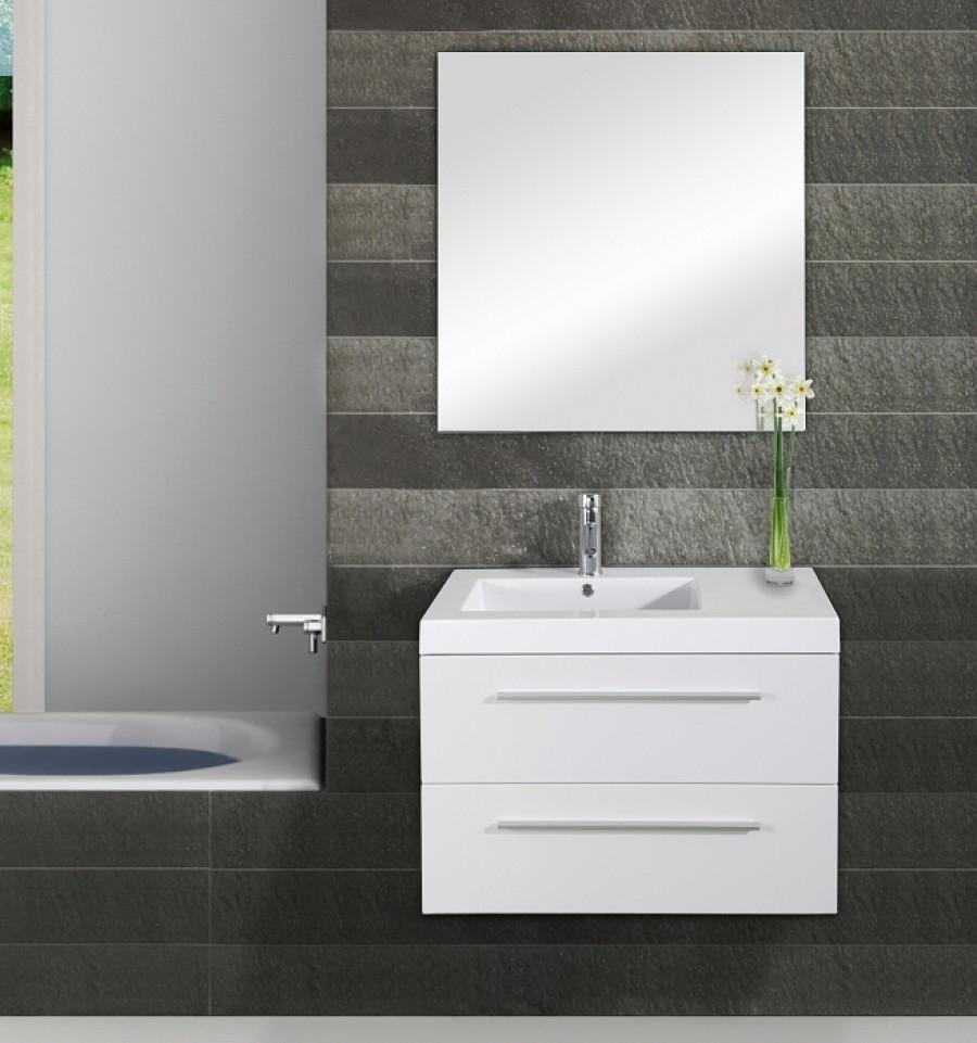 Meuble simple vasque saturn 80cm blanc for Meuble sanitaire