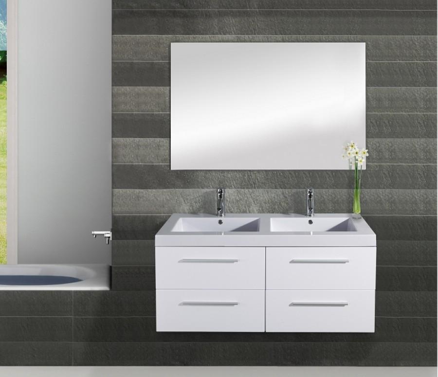Meuble double vasque saturn 120cm blanc for Meuble sanitaire