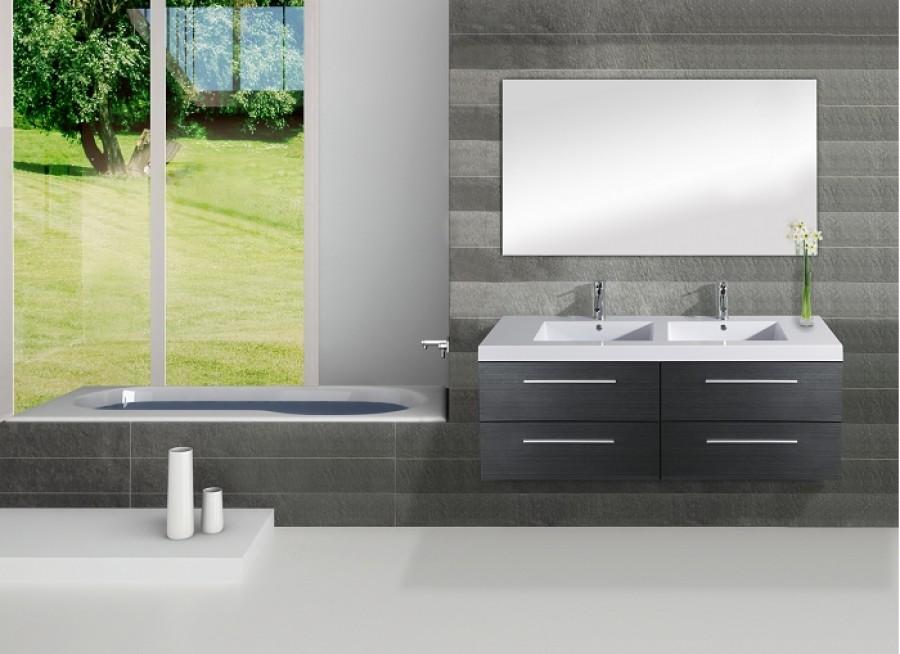 Meuble double vasque saturn 140cm gris for Meuble sanitaire