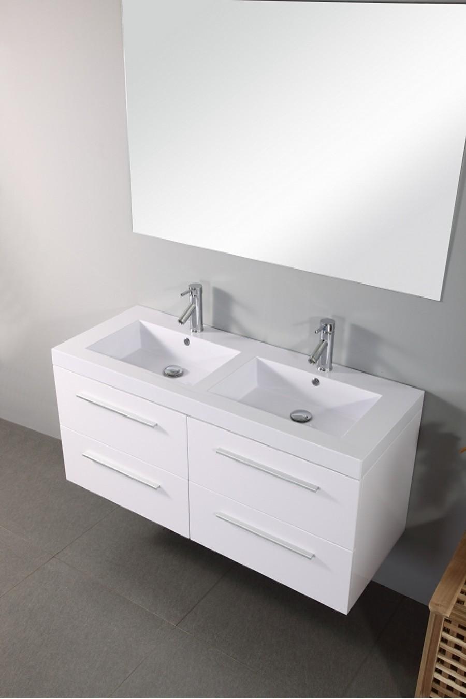 Meuble double vasque saturn 120cm blanc for Meuble double vasque blanc