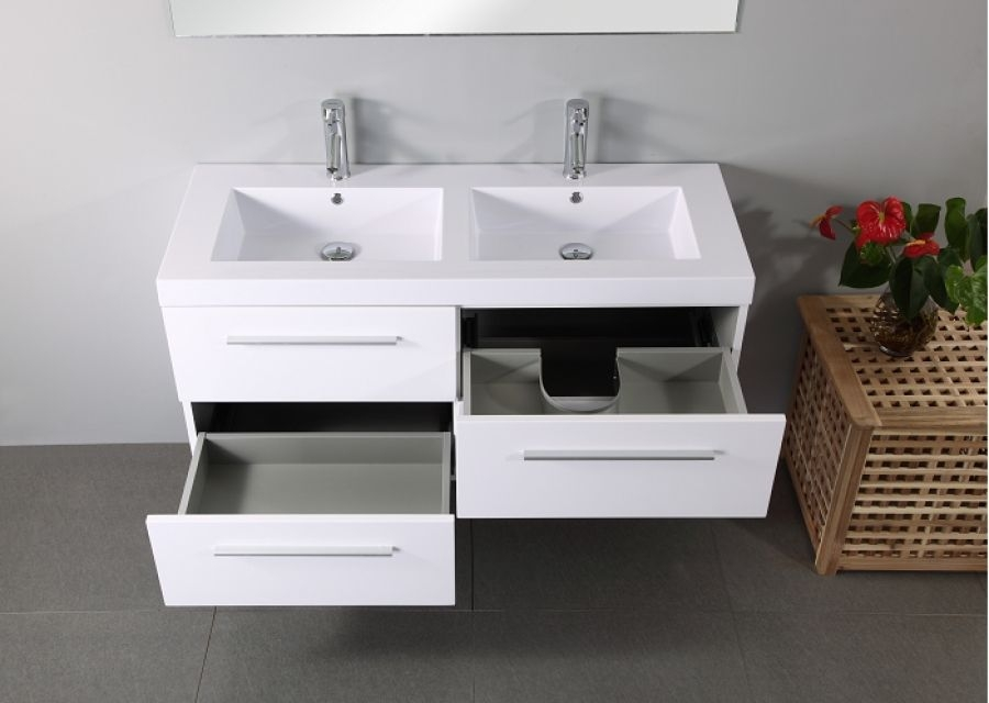 meuble double vasque saturn 120cm blanc meuble de salle de bain douche baignoire. Black Bedroom Furniture Sets. Home Design Ideas
