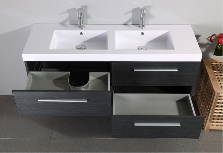 meuble double vasque saturn 140cm gris meuble de salle de bain douche baignoire. Black Bedroom Furniture Sets. Home Design Ideas