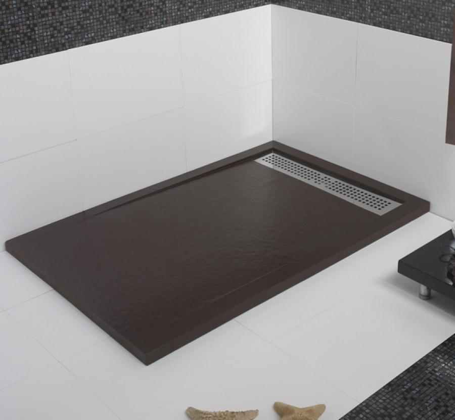 Receveur De Douche Ecoulement Lineaire Andromede Chocolat 90x140