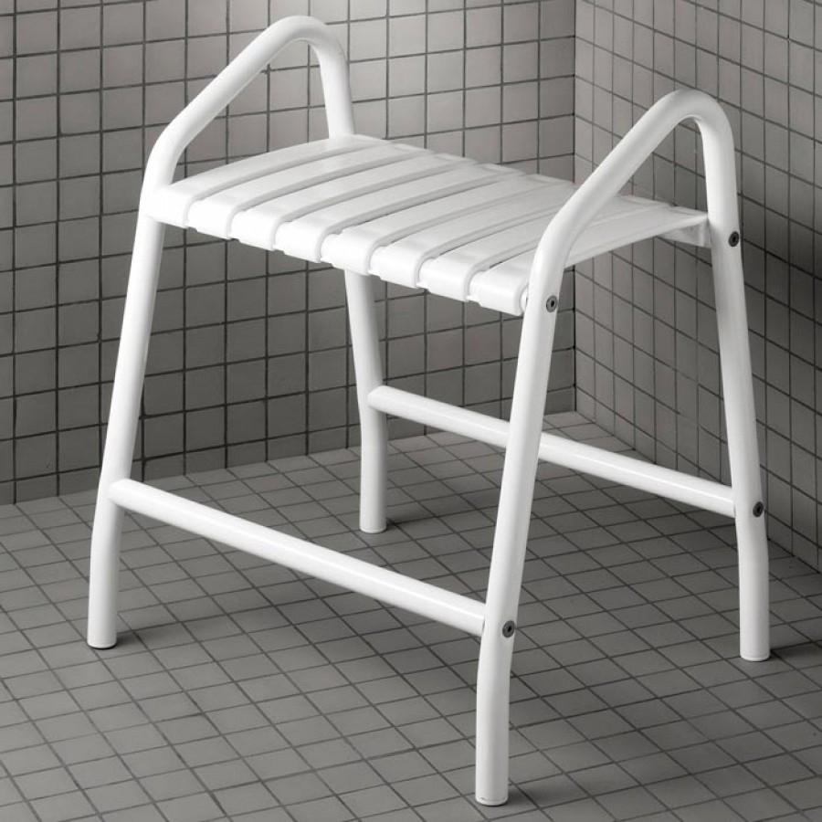 banc de douche avec deux poign es blanc 047678 pellet meuble de salle de bain. Black Bedroom Furniture Sets. Home Design Ideas