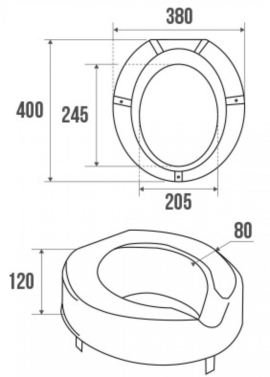 Étonnant Rehausse pour cuvette WC standard, Ht. 12 cm - PELLET UG-97