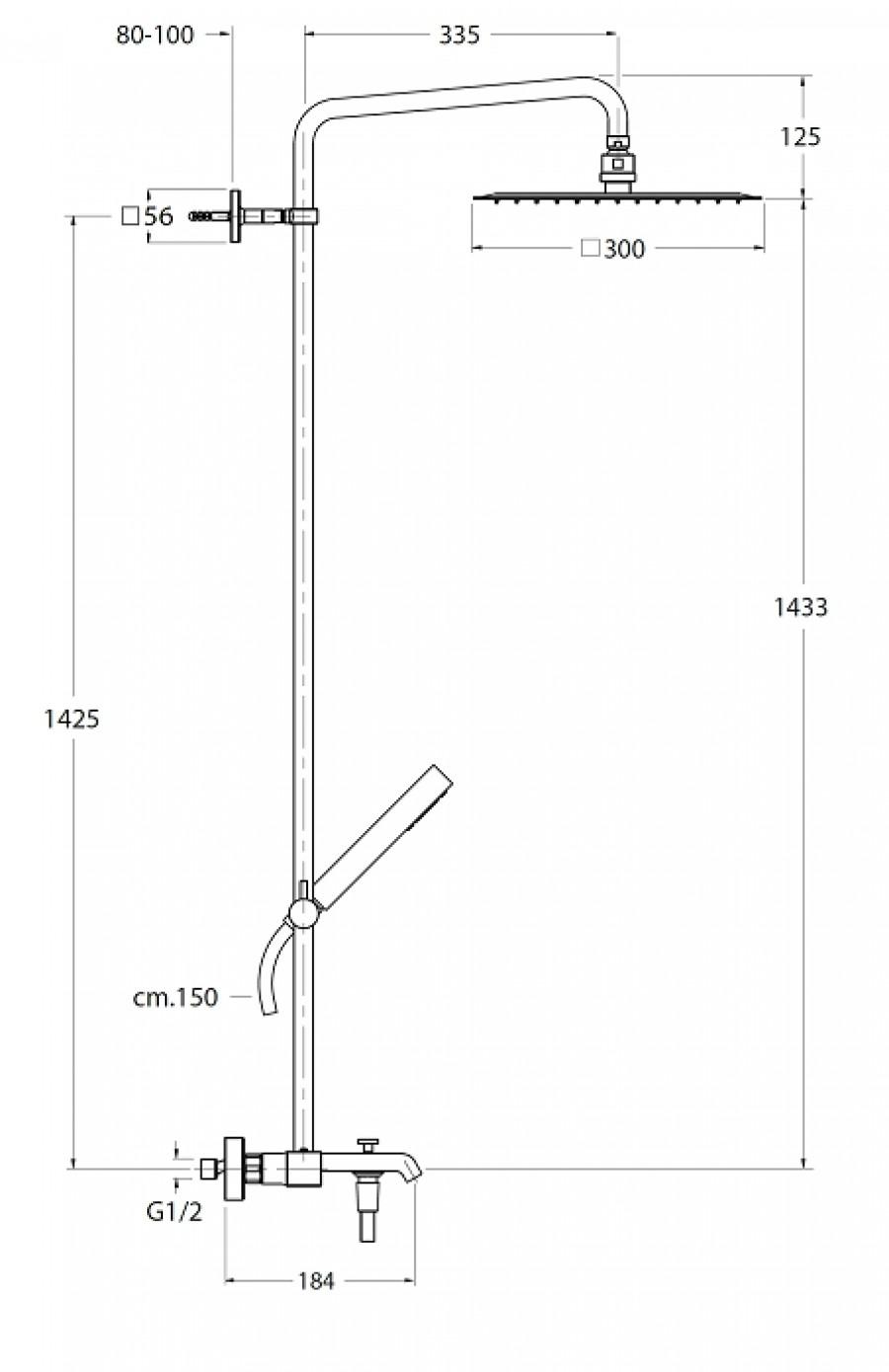 colonne bain douche thermostatique quadri bagno 300. Black Bedroom Furniture Sets. Home Design Ideas