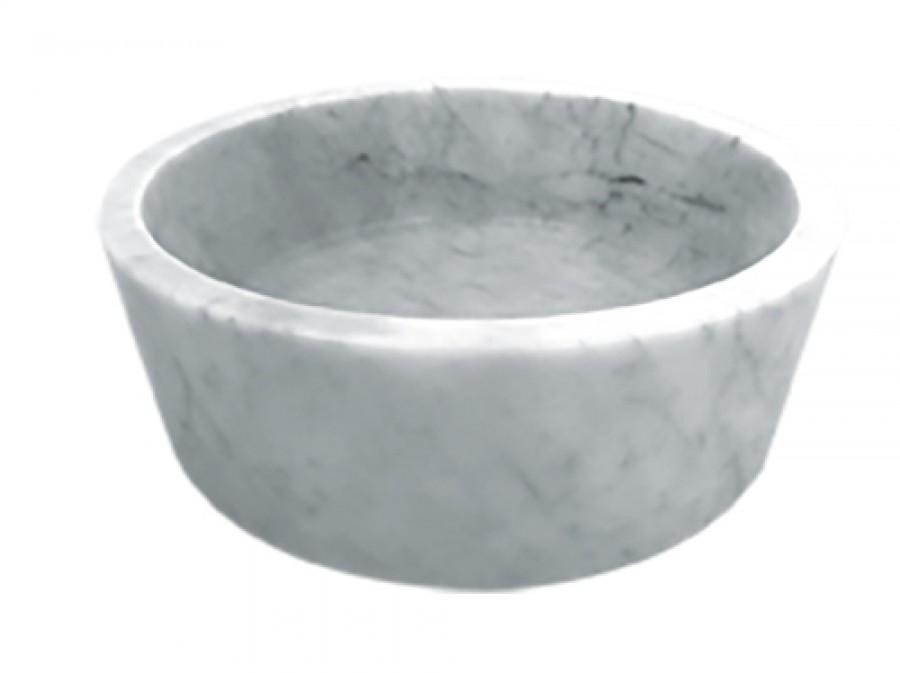 Vasque à poser en pierre ronde blanc marbré diamètre 42cm UR2006