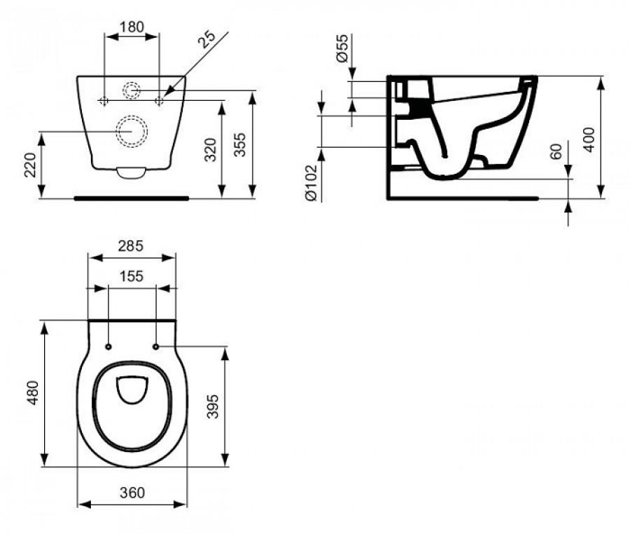 Cuvette suspendue compacte et abattant frein de chute for Cuvette suspendue ideal standard