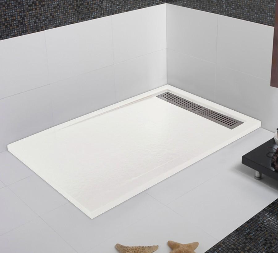 receveur de douche coulement lin aire androm de blanc meuble de salle de. Black Bedroom Furniture Sets. Home Design Ideas