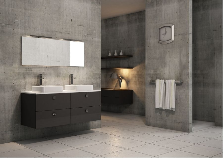 meuble double vasque loft 140 cm opale meuble de salle de bain douche. Black Bedroom Furniture Sets. Home Design Ideas